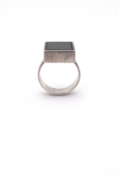 NE From Denmark vintage silver black stone modernist ring