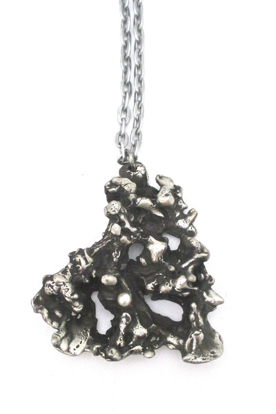 detail Robert Larin Canada vintage brutalist pewter extra large pendant necklace
