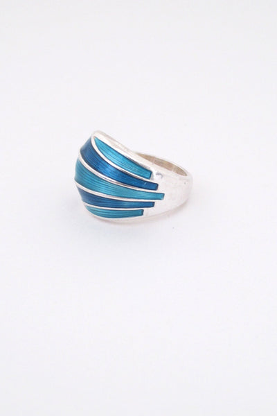 detail David-Andersen Norway vintage silver turquoise enamel adjustable ring Scandinavian Modern