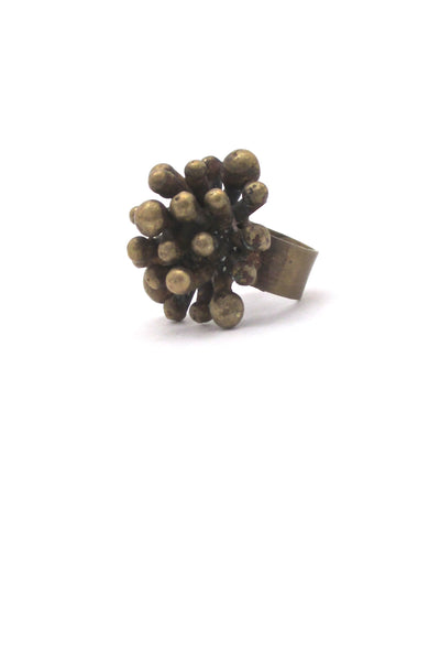 profile Pal Kepenyes Mexico vintage brutalist large brass starburst ring signed