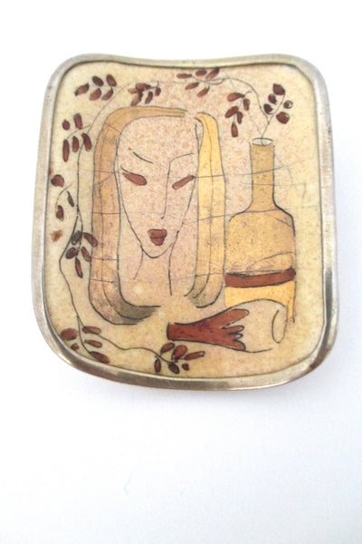 Tillander Finland hand painted ceramic & silver brooch 1946