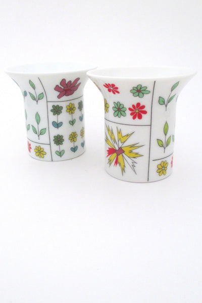 Emilio Pucci for Rosenthal vintage mid century modernist porcelain Piemonte pair candle holders