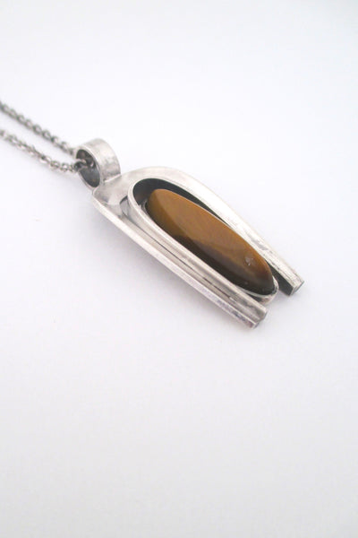 profile Elis Kauppi Kupittaan Kulta Finland vintage silver and shaped tiger eye pendant necklace 1974