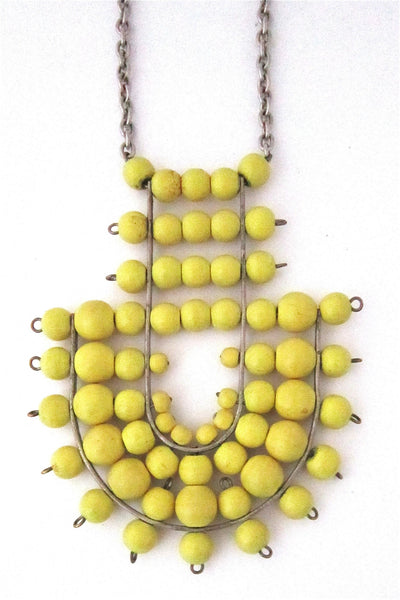 aarikka Finland vintage large canary yellow pendant necklace