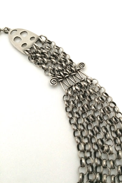 detail Vintage classic multi strand sterling silver chain necklace from Finland