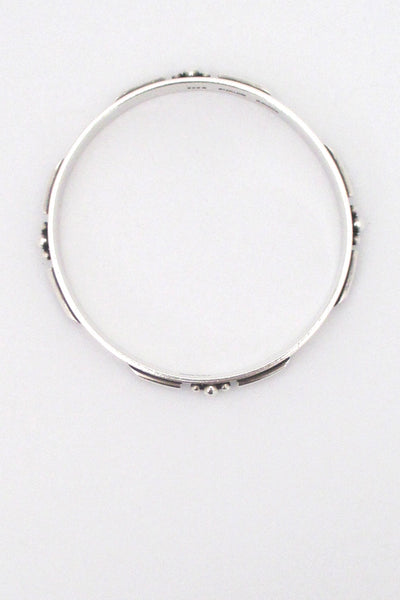 Sigurd Black detailed silver bangle bracelet