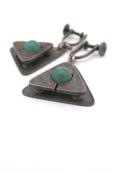 Jay Tuttle vintage American Modernist silver & aventurine drop earrings