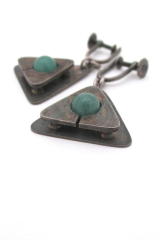 Jay Tuttle vintage American Modernist silver & aventurine drop earrings mid century jewelry design