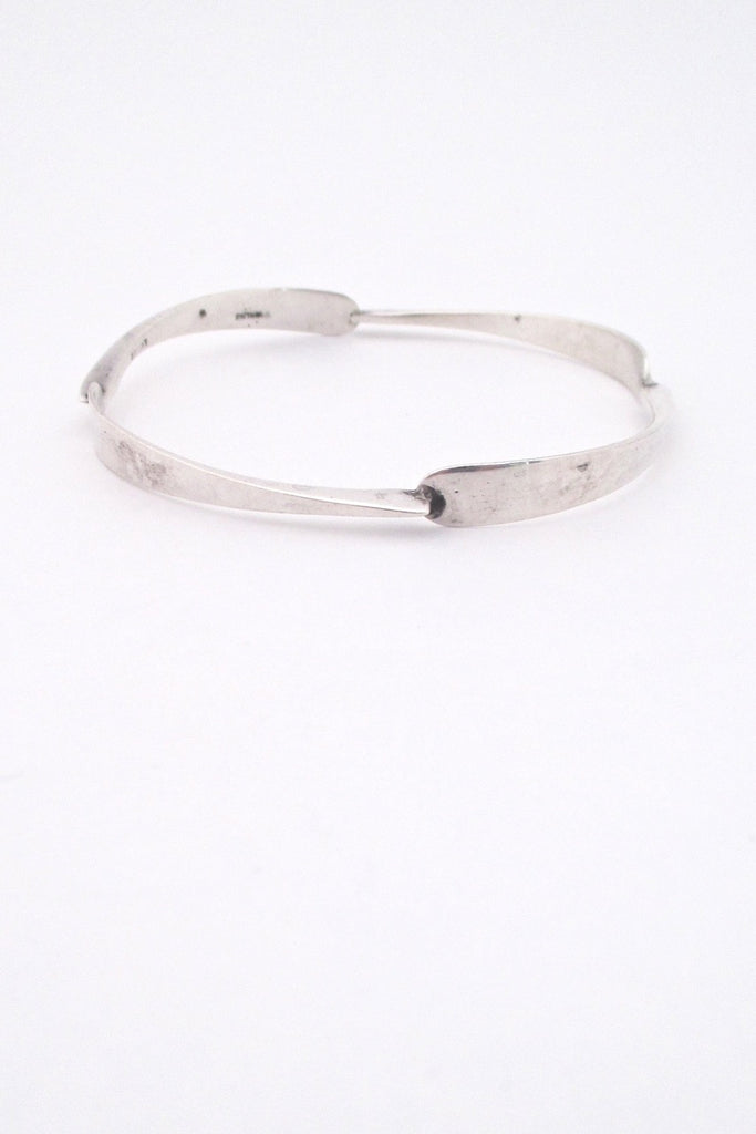 detail Jean Lasnier USA vintage mid century studio made silver bangle bracelet
