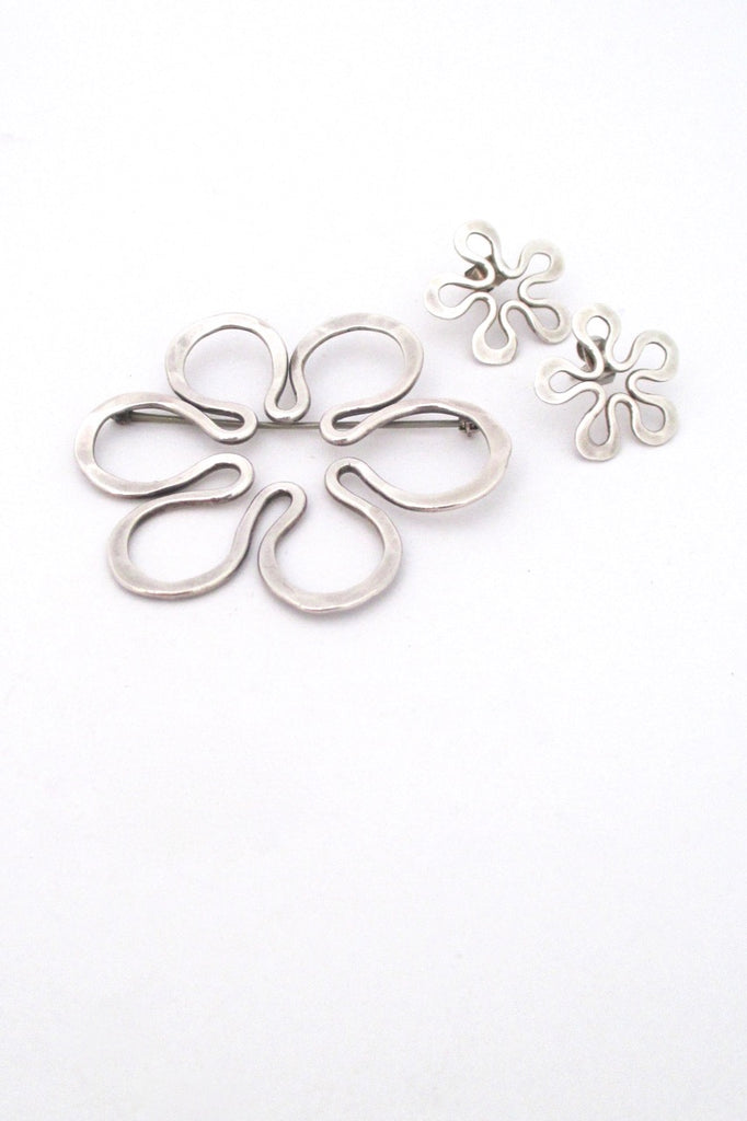 John Lewis USA modernist hammered silver flower brooch and earrings set mid century design