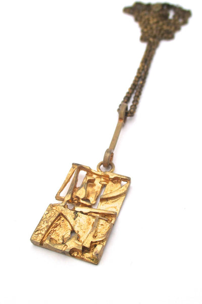 Jorma Laine Finland vintage gilded bronze abstract pendant necklace Nordic design