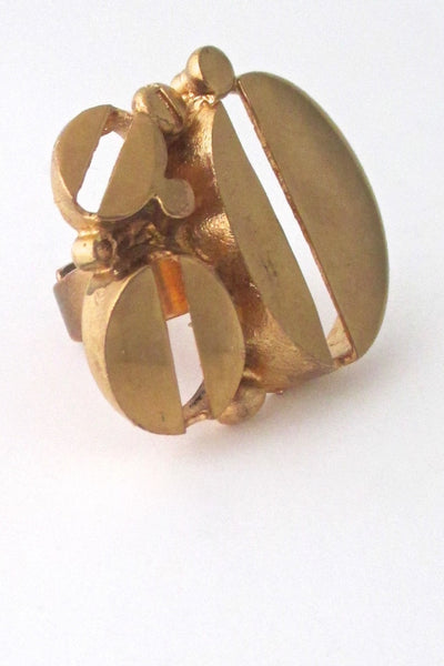 Jorma Laine Finland massive gilded bronze ring at Samantha Howard Vintage