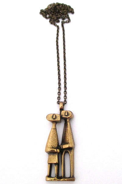 Jorma Laine Finland vintage modernist bronze 'confidants' pendant necklace