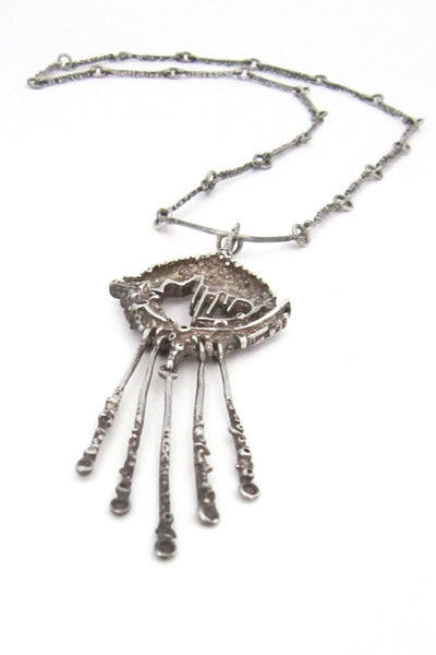 Juhls Norway vintage brutalist silver long kinetic pendant necklace Nordic design