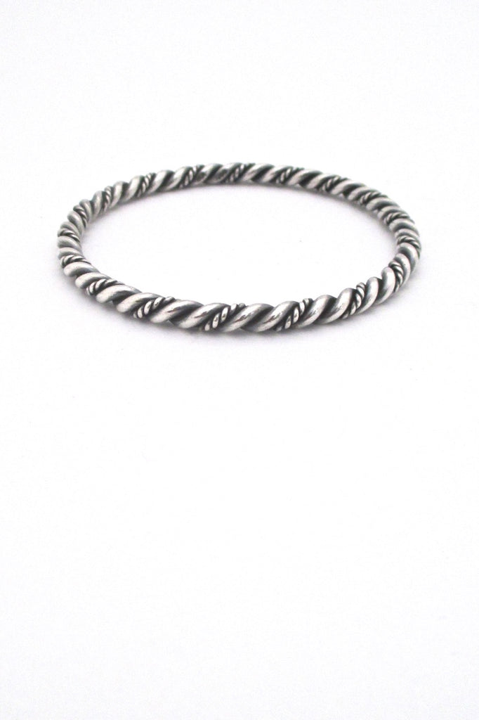 Just Andersen Denmark vintage twisted silver bangle bracelet