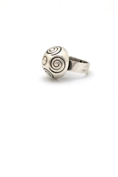 profile Kalevala Koru Finland vintage silver dome ring with spirals 1966 Scandinavian Modern design jewelry