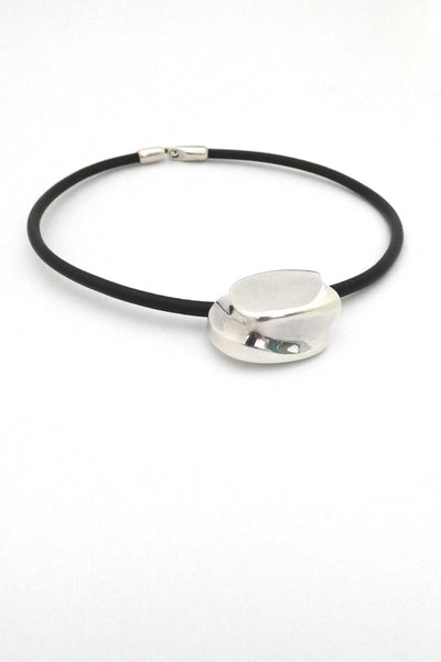 Lapponia Finland vintage silver leather collier choker necklace Poul Havgaard 1974 Scandinavian Modernist design jewelry