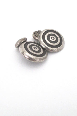 Lisa Jenks USA vintage post modern sterling silver target cufflinks