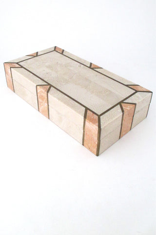 Maitland Smith vintage tessellated stone and brass lidded box