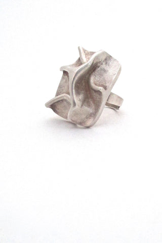 Matti Hyvarinen for Sirokoru Finland vintage Scandinavian Modernist silver massive sculptural ring 1976