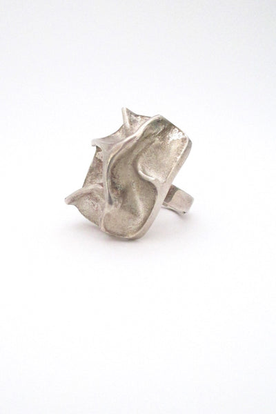 Matti Hyvarinen for Sirokoru Finland vintage modernist Scandinavian silver massive sculptural ring 1973
