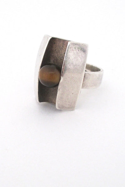 Matti Hyvarinen Finland vintage Scandinavian Modernist silver and tiger eye ring 1974