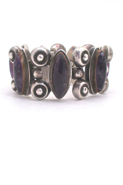 vintage silver and amethyst wide and heavy panel link bracelet Mexico