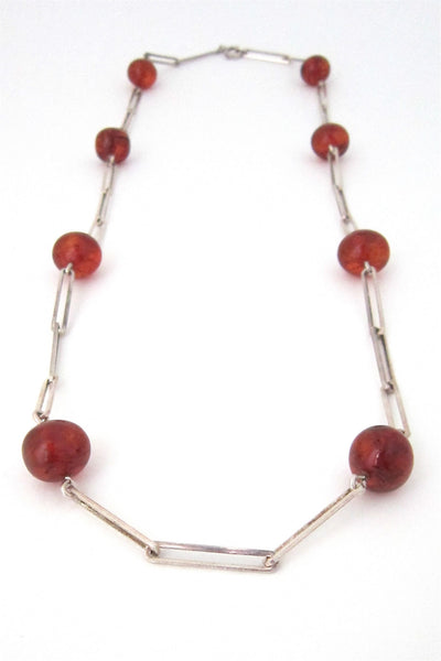 NE From Denmark vintage silver and amber long link necklace