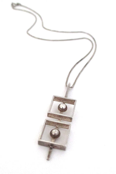 N E From Denmark vintage Scandinavian Modernist silver squares & spheres necklace