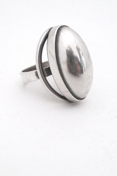 N E From Denmark vintage mid century modernist extra large silver cabochon ring