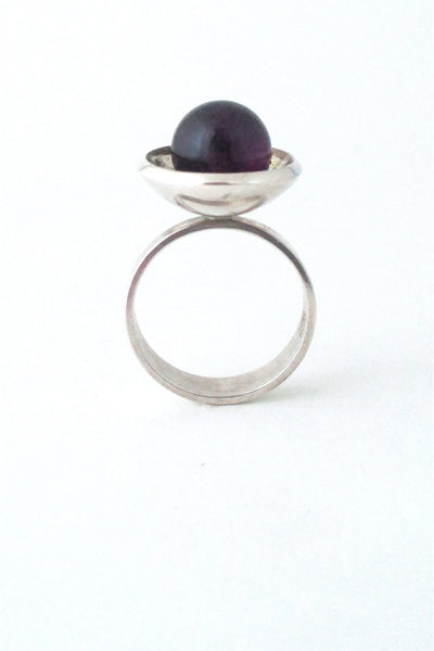 N E From Denmark vintage Scandinavian Modernist sterling silver & amethyst ring