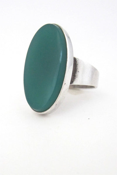 N E From Denmark vintage modernist silver large chrysoprase ring