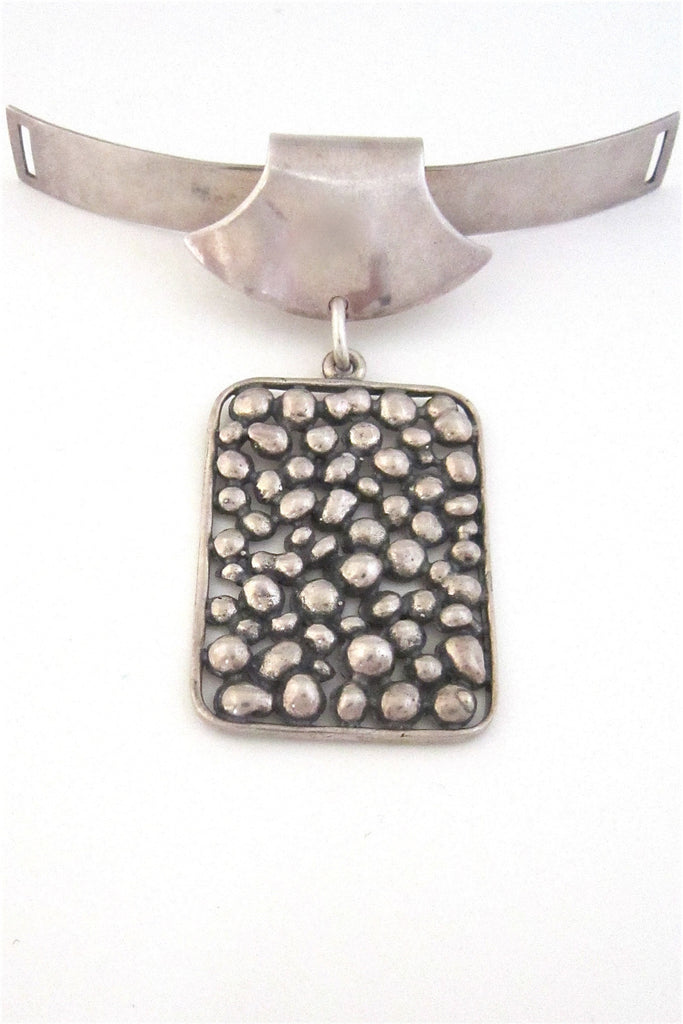 N E From Denmark vintage modernist silver pendant men's neck piece