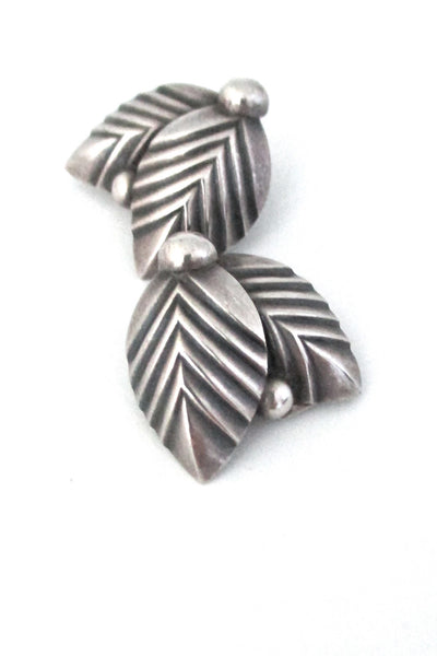 Niels Erik From Denmark vintage silver Scandinavian Modernist leaf & berry earrings