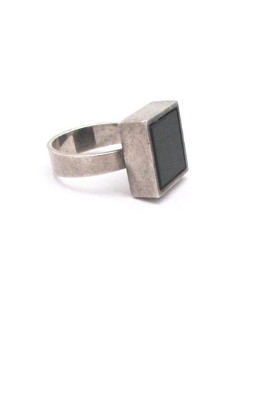 profile NE From Denmark vintage silver black stone modernist ring