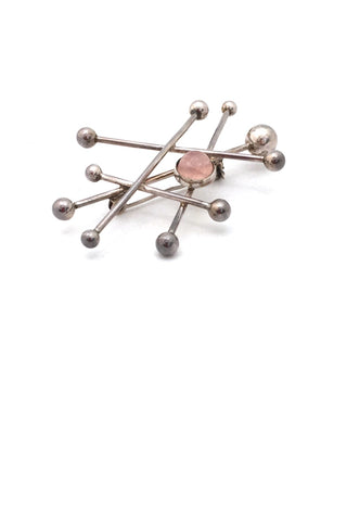 detail Niels Erik NE From Denmark vintage silver rose quartz atomic large brooch Scandinavian Modernist jewelry design