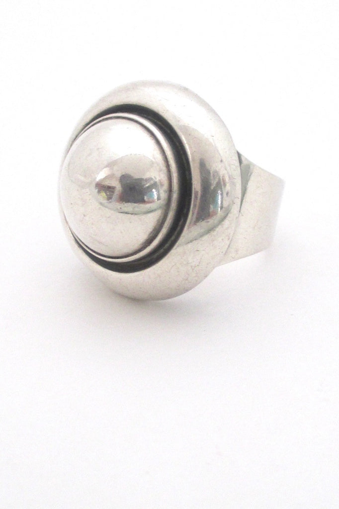 Niels From Denmark large Scandinavian Modernist silver dome ring