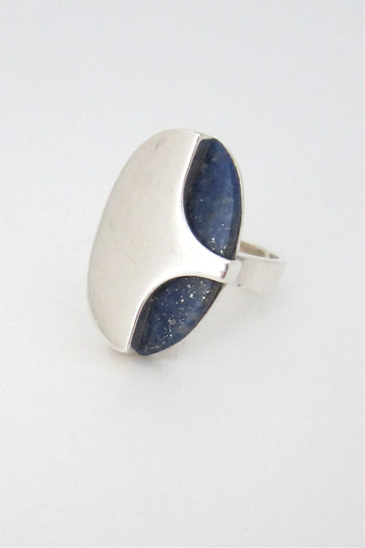 NE From Denmark vintage sterling silver and lapis large ring