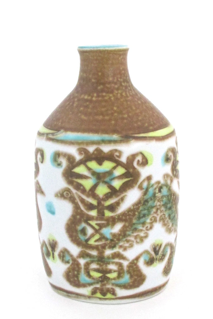 Nils Thorsson for Royal Copehagen Denmark vintage turquoise yellow Baca faience ceramic bird vase