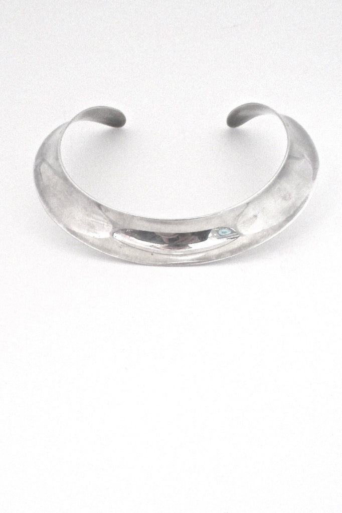 Ove Wendt for Andreas Mikkelsen Denmark vintage silver Scandinavian Modern wide collier neck ring