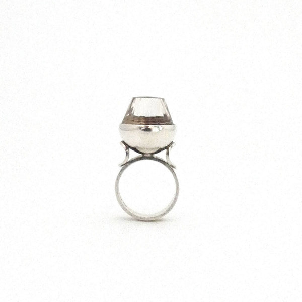 Elis Kauppi extra large silver & faceted rock crystal ring