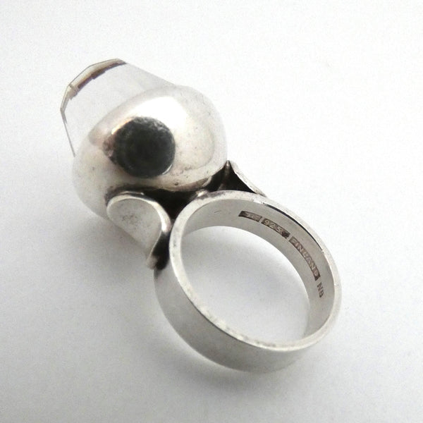Elis Kauppi extra large silver & faceted rock crystal ring ~ hidden kinetic feature