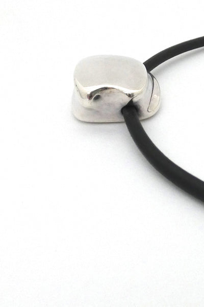 detail Lapponia Finland vintage silver leather collier choker necklace Poul Havgaard 1974 Scandinavian Modernist design jewelry