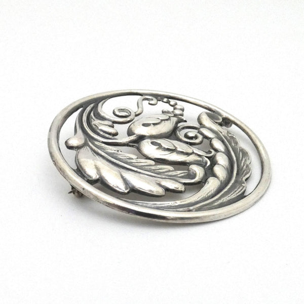 profile Carl Poul Petersen Canada vintage silver extra large floral brooch Danish influence design jewelry