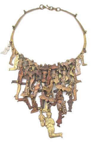 Pal Kepenyes Mexico massive vintage brass copper kinetic milagros necklace wearable sculpture