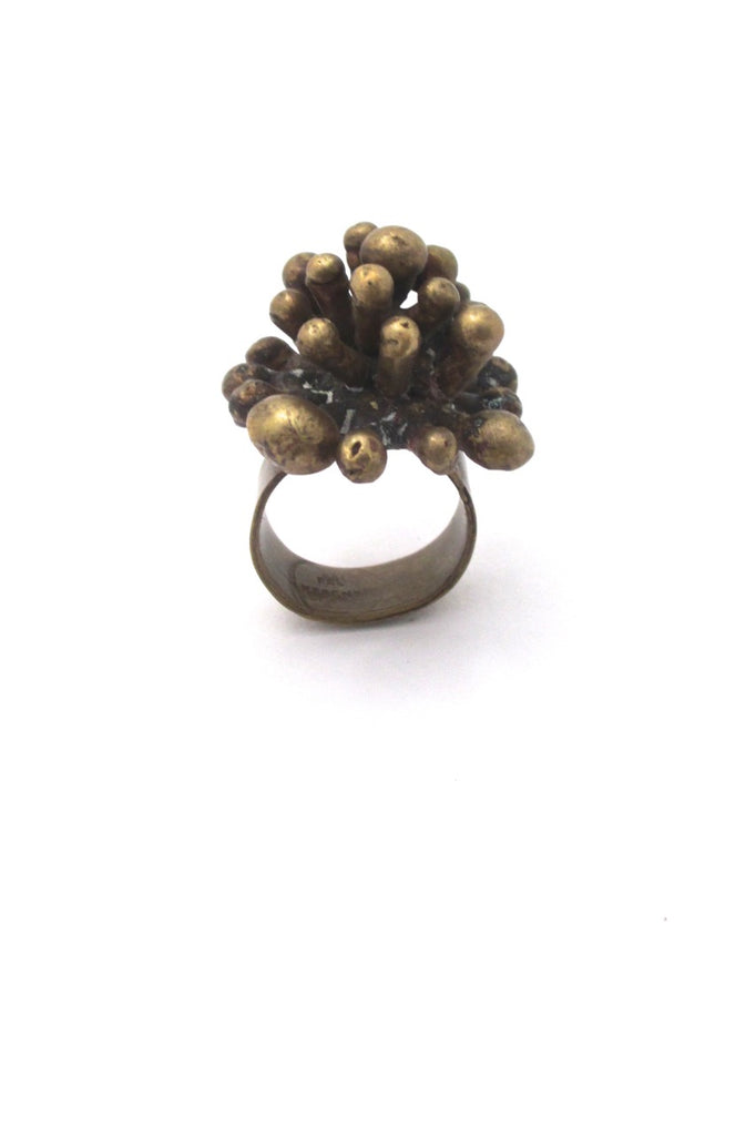 Pal Kepenyes Mexico vintage brutalist large brass starburst ring signed