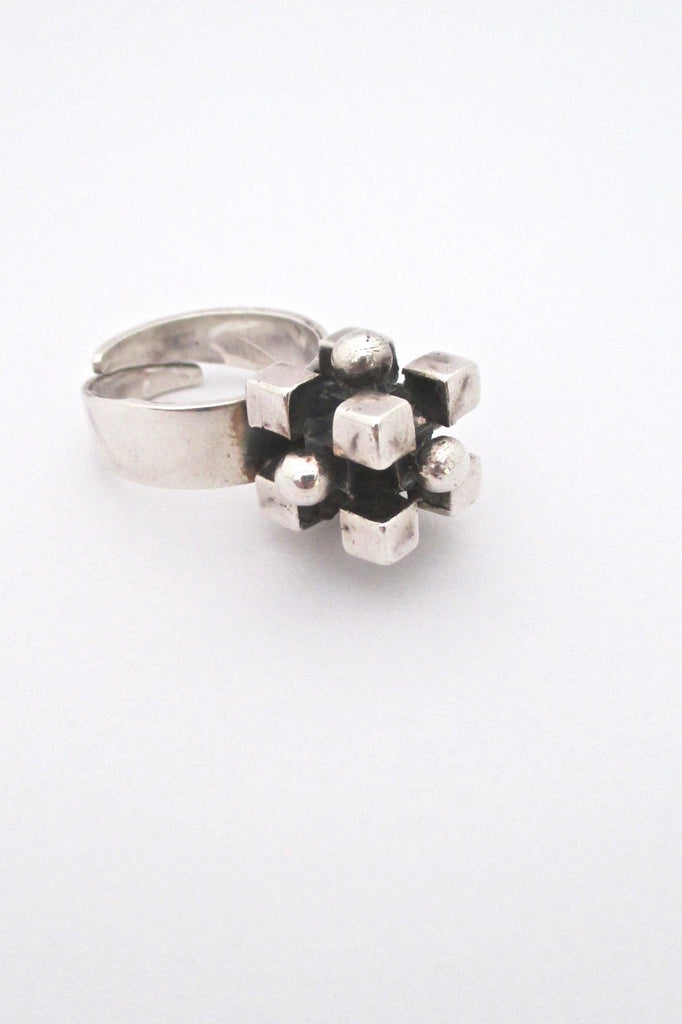 Pentti Sarpaneva Finland vintage silver heavy cubes spheres ring mid century design