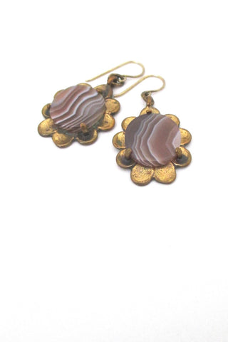 detail Pentti Sarpaneva Finland vintage bronze banded agate drop earrings 1970s