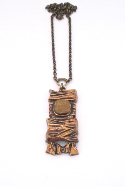 Pentti Sarpaneva Finland vintage bronze and tiger eye pendant necklace 1970s