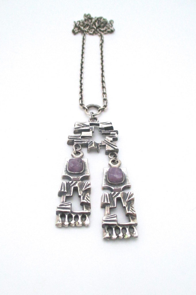 Pentti Sarpaneva for Turun Hopea Finland large brutalist kinetic silver amethyst pendant necklace